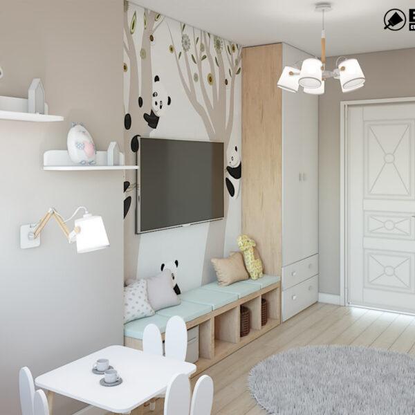 """Дизайн-проект двокімнатної квартири ЖК """"Пролісок"""", дитяча кімната вид зліва"""
