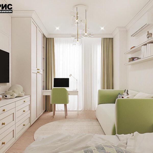 """Дизайн-проект квартири ЖК """"Німецький проект"""", дитяча кімната вид зліва"""