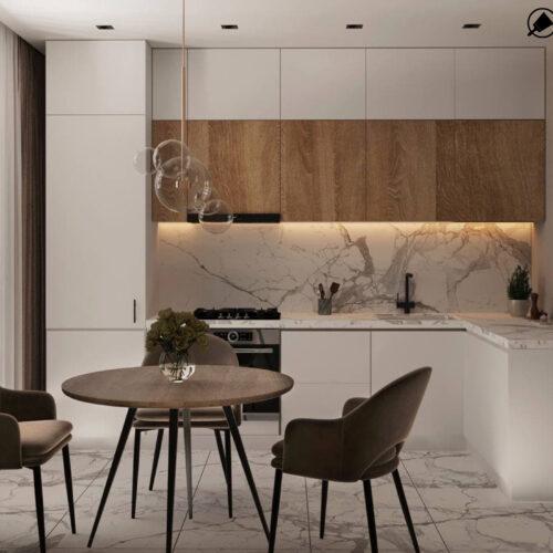 """Дизайн-проект интерьера однокомнатной квартиры ЖК """"Левада 2"""", кухня вид в целом"""