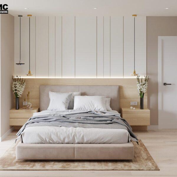 """Дизайн-проект двокімнатної квартири ЖК """"Левада"""", спальня вид спереду"""