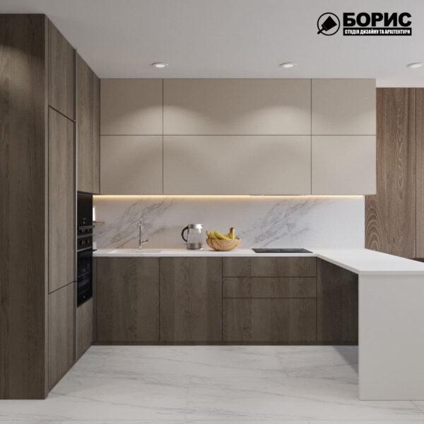 """Дизайн-проект трикімнатної квартири ЖК """"Віденський дім"""", кухня вид спереду"""