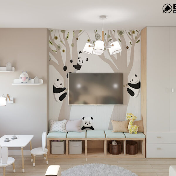 """Дизайн-проект двухкомнатной квартиры ЖК """"Пролисок"""", детская вид сзади"""