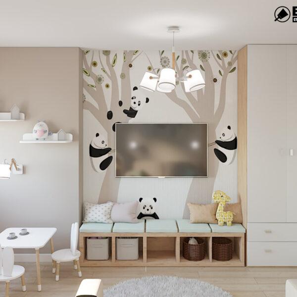 """Дизайн-проект двокімнатної квартири ЖК """"Пролісок"""", дитяча кімната вид ззаду"""