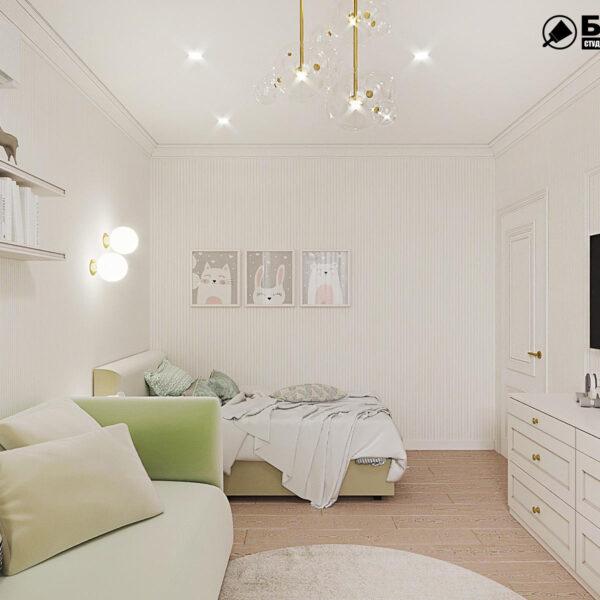 """Дизайн-проект квартири ЖК """"Німецький проект"""", дитяча кімната вид справа"""