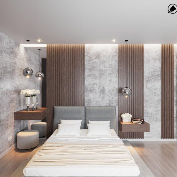 """Дизайн інтер'єру квартири ЖК """"Журавлі"""", спальня вид спереду"""