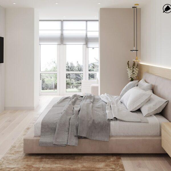 """Дизайн-проект двокімнатної квартири ЖК """"Левада"""", спальня вид зліва"""