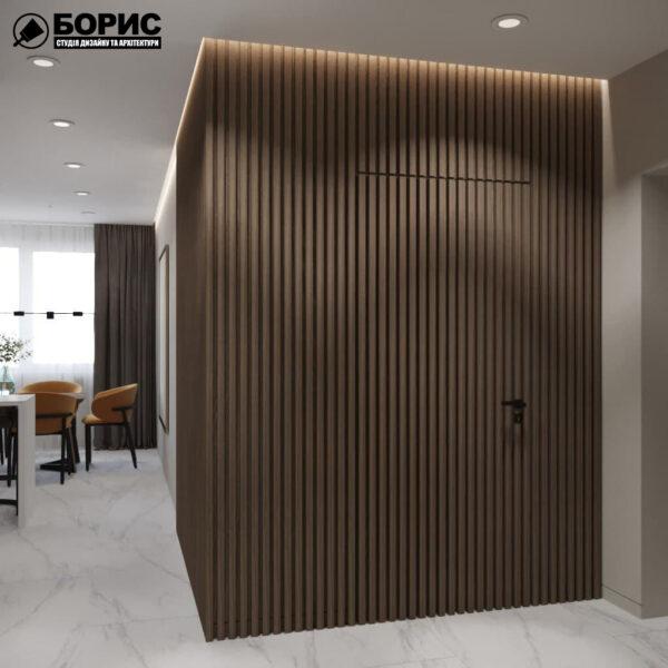 """Дизайн-проект трикімнатної квартири ЖК """"Віденський дім"""", кухня вид з передпокою"""