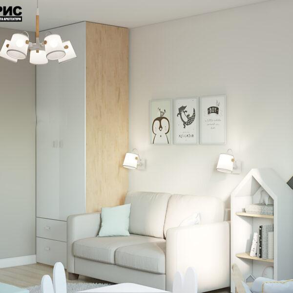 """Дизайн-проект двокімнатної квартири ЖК """"Пролісок"""", дитяча кімната вид спереду"""