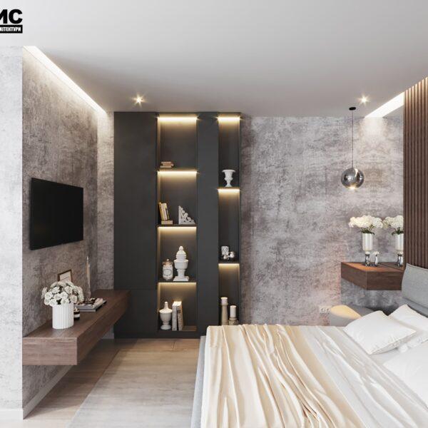 """Дизайн інтер'єру квартири ЖК """"Журавлі"""", спальня вид зліва"""