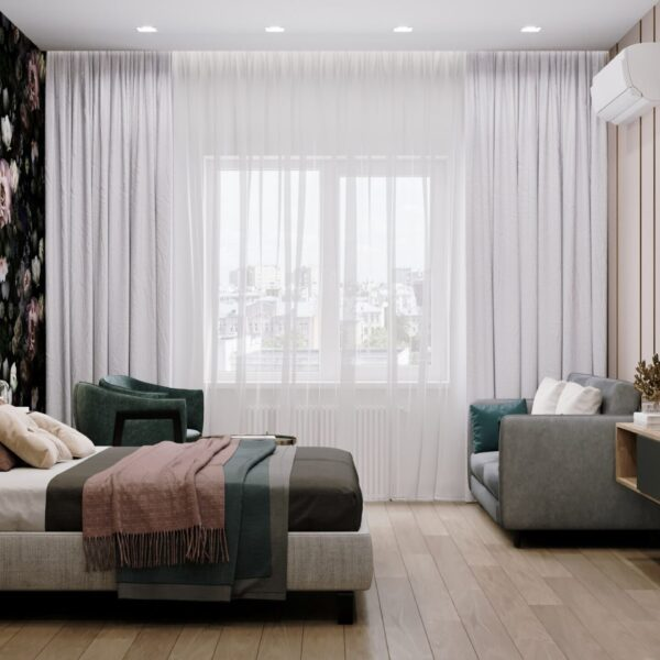"Дизайн-проект гостиницы ""CITY LIFE"", комната №1 вид справа"