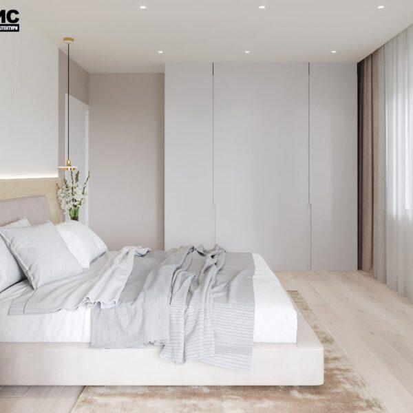 """Дизайн-проект двухкомнатной квартиры ЖК """"Левада"""", спальня вид справа"""