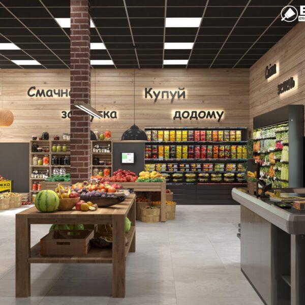 Дизайн интерьера овощного магазина по ул. Героев Труда, фото 3