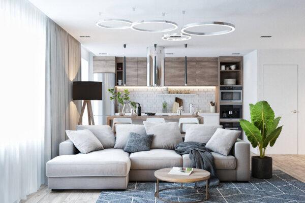 Дизайн интерьера квартиры в хрущёвке, гостиная диван
