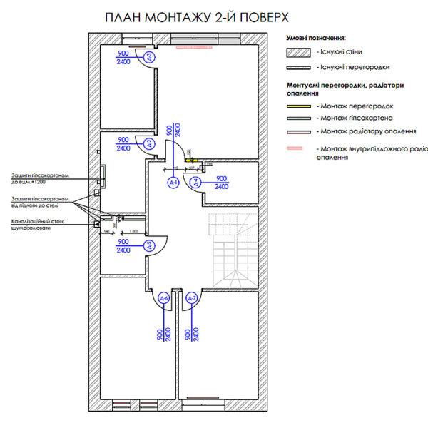 """Дизайн-проект двухэтажной квартиры ЖК """"Клеменова Дача"""", план монтажа 2й этаж"""