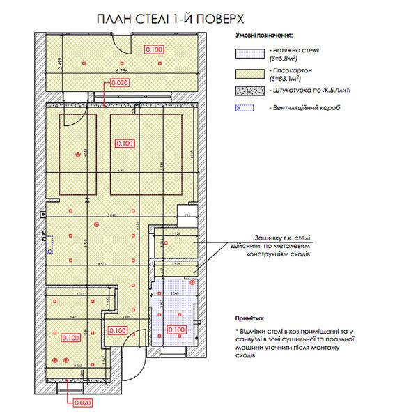 """Дизайн-проект двухэтажной квартиры ЖК """"Клеменова Дача"""", план потолка 1й этаж"""