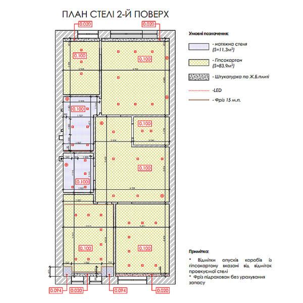 """Дизайн-проект двухэтажной квартиры ЖК """"Клеменова Дача"""", план потолка 2й этаж"""
