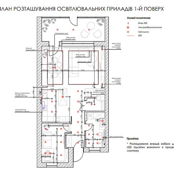 """Дизайн-проект двухэтажной квартиры ЖК """"Клеменова Дача"""", план приборов освещения 1й этаж"""