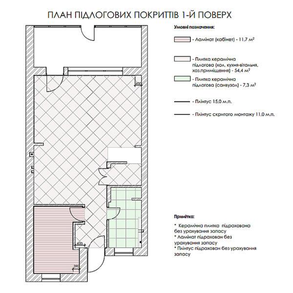 """Дизайн-проект двухэтажной квартиры ЖК """"Клеменова Дача"""", план пола 1й этаж"""