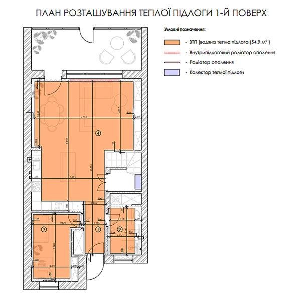 """Дизайн-проект двухэтажной квартиры ЖК """"Клеменова Дача"""", план тёплого пола 1й этаж"""