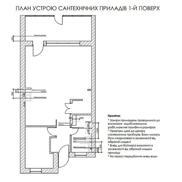 """Дизайн-проект двухэтажной квартиры ЖК """"Клеменова Дача"""", план сантехнических приборов 1й этаж"""