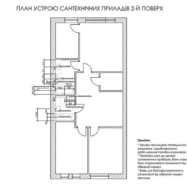 """Дизайн-проект двухэтажной квартиры ЖК """"Клеменова Дача"""", план сантехнических приборов 2й этаж"""