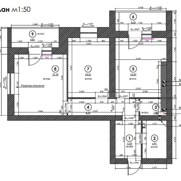 """Дизайн-проект двокімнатної квартири ЖК """"Левада"""", план обмірний"""