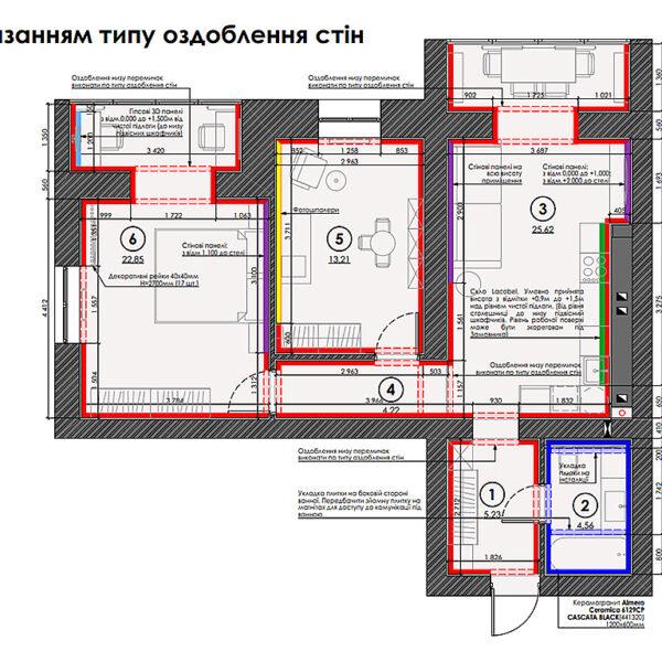 """Дизайн-проект двокімнатної квартири ЖК """"Левада"""", план оздоблення стін"""