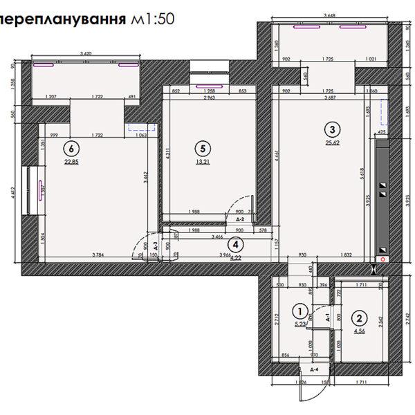 """Дизайн-проект двокімнатної квартири ЖК """"Левада"""", план перепланування"""