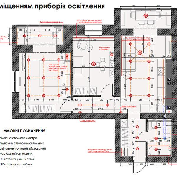 """Дизайн-проект двокімнатної квартири ЖК """"Левада"""", план приборів освітлення"""