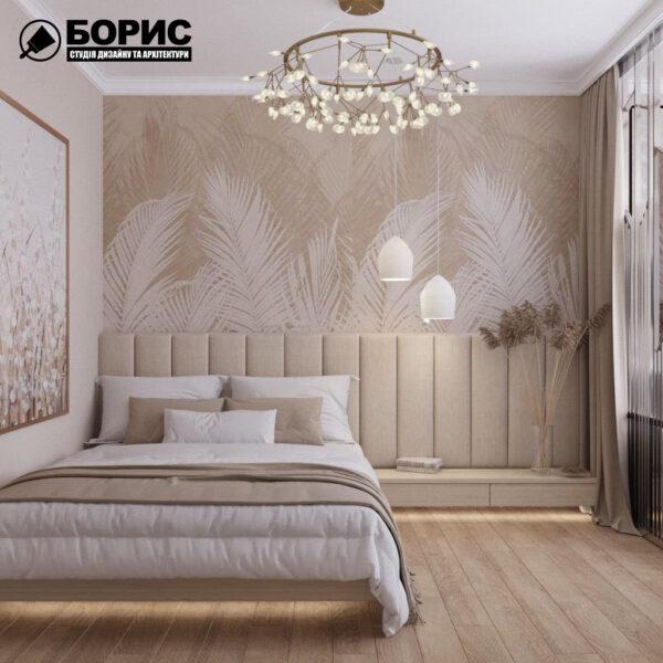 """Дизайн інтер'єру квартири ЖК """"Резиденція"""", спальня вид спереду"""