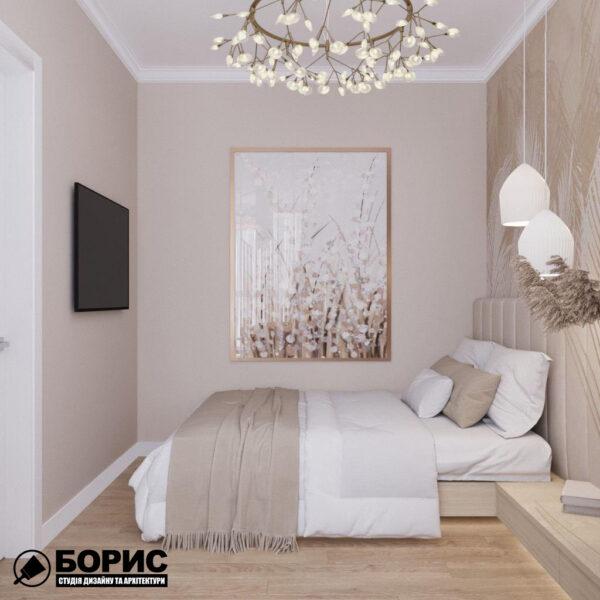 """Дизайн інтер'єру квартири ЖК """"Резиденція"""", спальня вид збоку"""