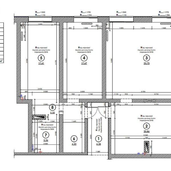 """Дизайн-проект трикімнатної квартири ЖК """"Віденський дім"""", план обмірний"""