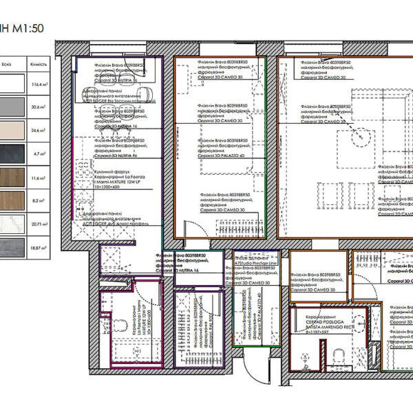 """Дизайн-проект трикімнатної квартири ЖК """"Віденський дім"""", план оздоблення стін"""