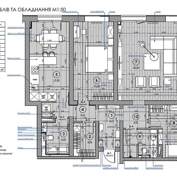 """Дизайн-проект трикімнатної квартири ЖК """"Віденський дім"""", план розміщення меблів та обладнання"""