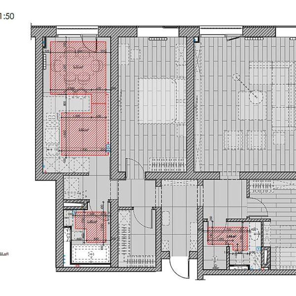 """Дизайн-проект трикімнатної квартири ЖК """"Віденський дім"""", план теплої підлоги"""