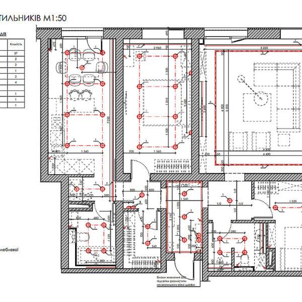 """Дизайн-проект трикімнатної квартири ЖК """"Віденський дім"""", план розміщення світильників"""