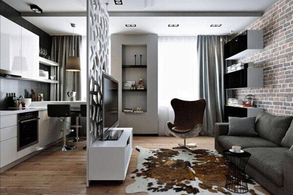 Дизайн интерьера квартиры студии, гостиная кухня