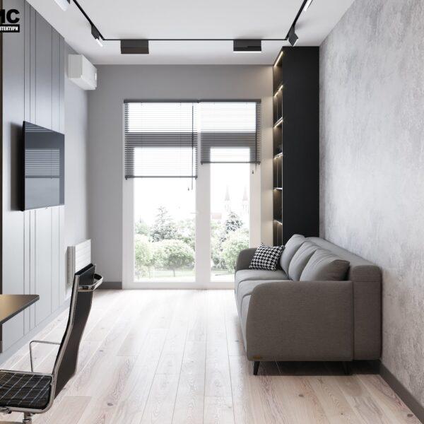 """Дизайн інтер'єру квартири ЖК """"Віденський дім"""", вітальня вид зліва"""