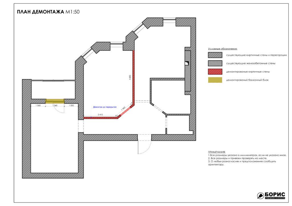 Состав дизайн-проекта интерьера, план демонтажа