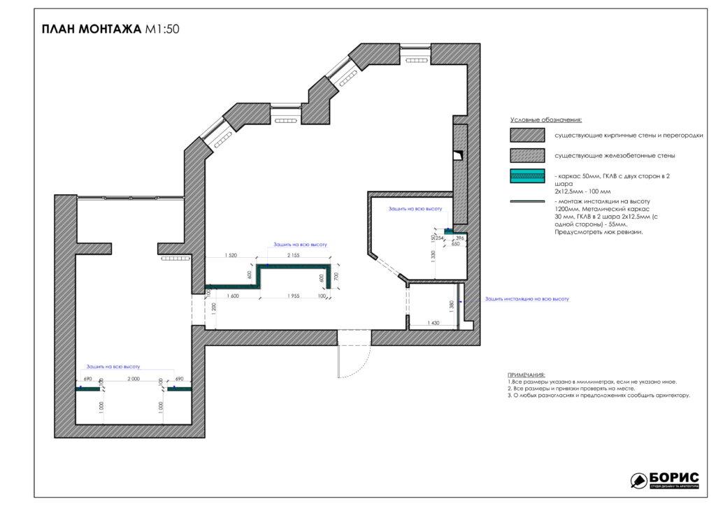 Состав дизайн-проекта интерьера, план монтажа
