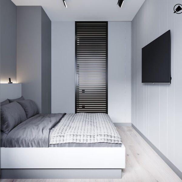 """Дизайн інтер'єру квартири ЖК """"Віденський дім"""", спальня вид справа"""