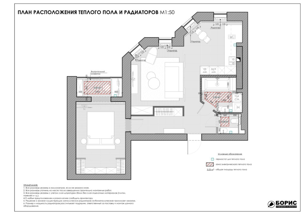 Состав дизайн-проекта интерьера, план теплого пола, радиаторов