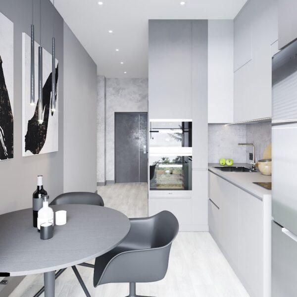 """Дизайн інтер'єру квартири ЖК """"Віденський дім"""", кухня вид зліва"""