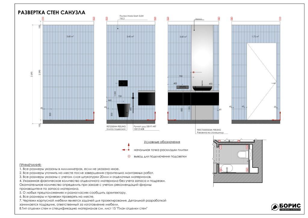 Состав дизайн-проекта интерьера, развертка стен санузла