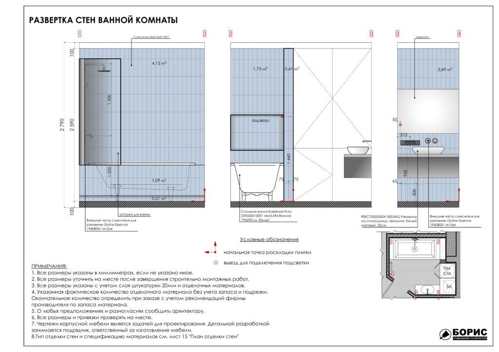 Состав дизайн-проекта интерьера, развертка стен ванной комнаты