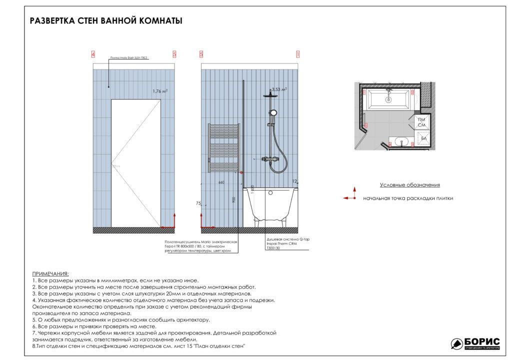 Состав дизайн-проекта интерьера, развертка стен ванной комнаты, фото 2