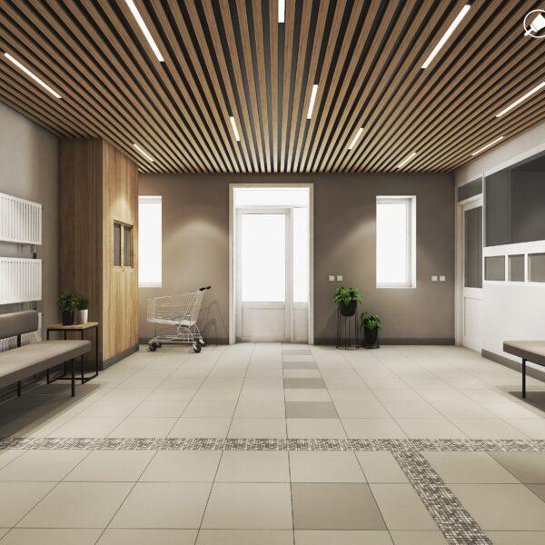Дизайн интерьера холла жилого дома по пр. Науки, холл вид сзади