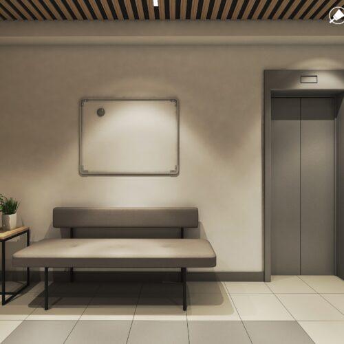 Дизайн інтер'єру холу житлового будинку по пр. Науки, ліфтова зона вид зліва