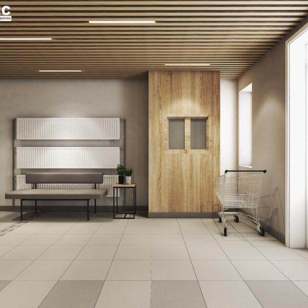 Дизайн интерьера холла жилого дома по пр. Науки, холл вид справа