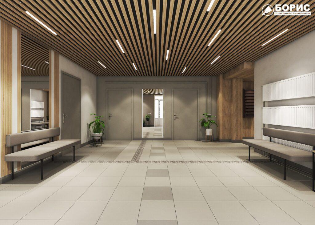 Дизайн інтер'єру холу житлового будинку по пр. Науки, хол вид спереду